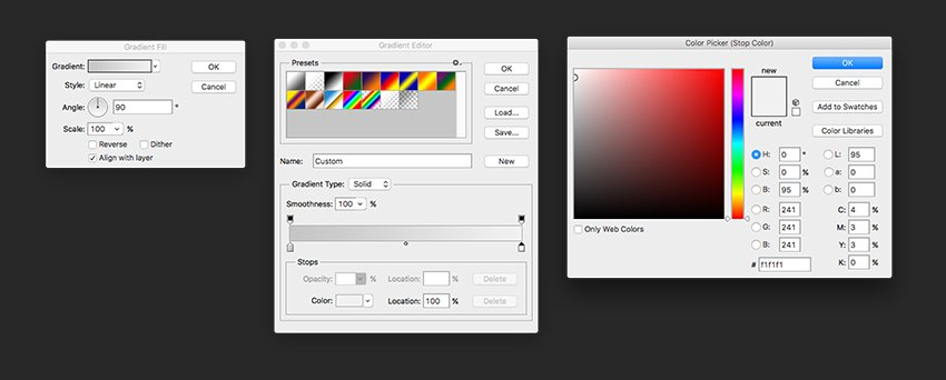 Choose gradient colors from medium grey to light grey