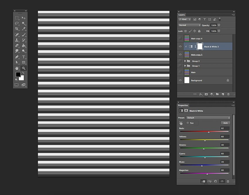 Create a black and white clipping mask over the horizontal lines
