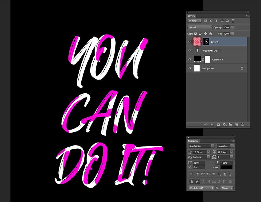 Add color to the regular layer with the layer mask