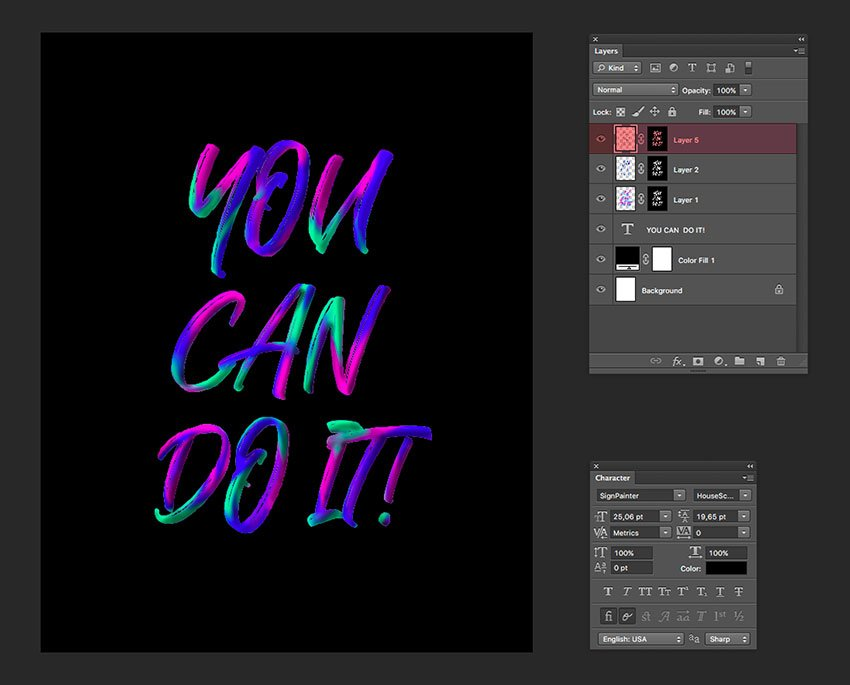 Create a new layer with a mask on the text to add shadow