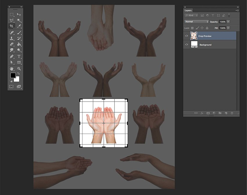 Open the set of hands image and crop to one pair of hands