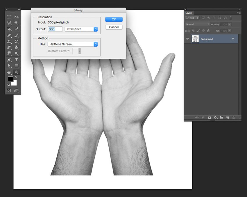 Convert the file to grayscale and later to bitmap