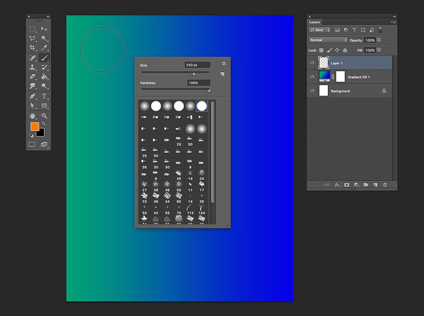 Create a new layer and select the brush tool