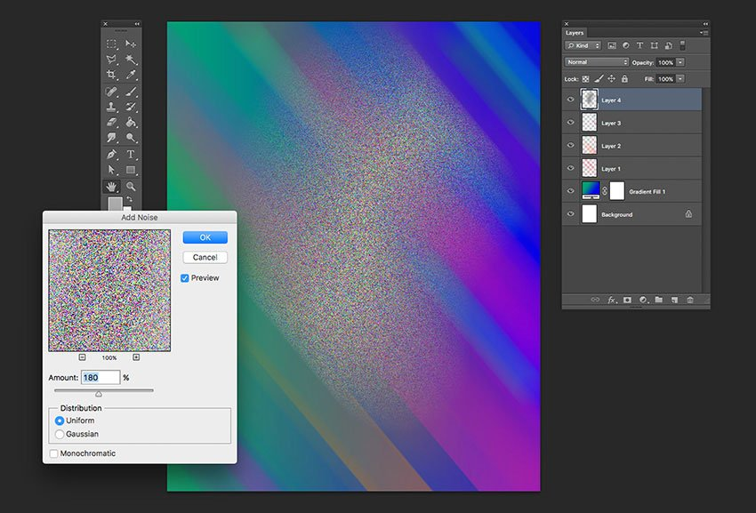 Apply a noise filter on the same layer to create the particles and lower the opacity of the layer