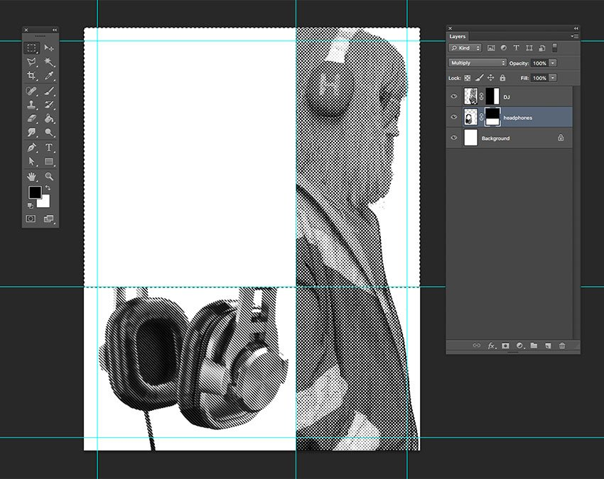 Resize and move the headphones image Using layer masks delete the top part we wont be using