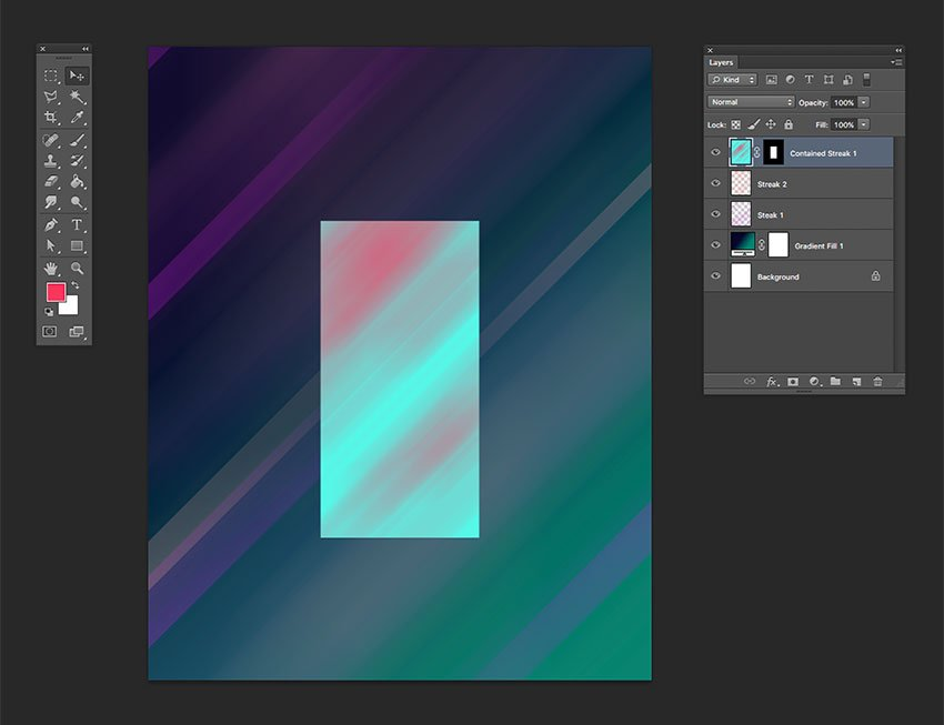 Create a layer mask by using the rectangle on the last layer