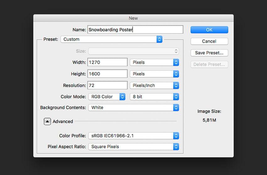 Create a new Photoshop file