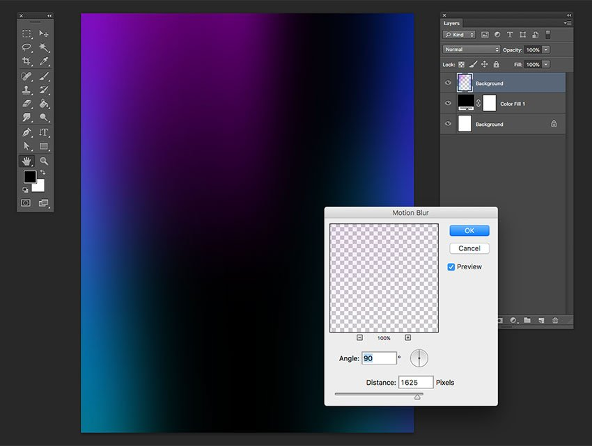 Apply the motion blur effect and lower the opacity of the layer