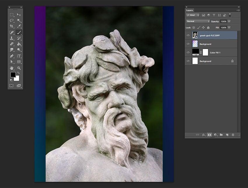 Drag the Greek God image onto the Photoshop file