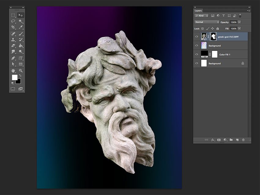 Using the brush tool hide the neck and chest area of the image