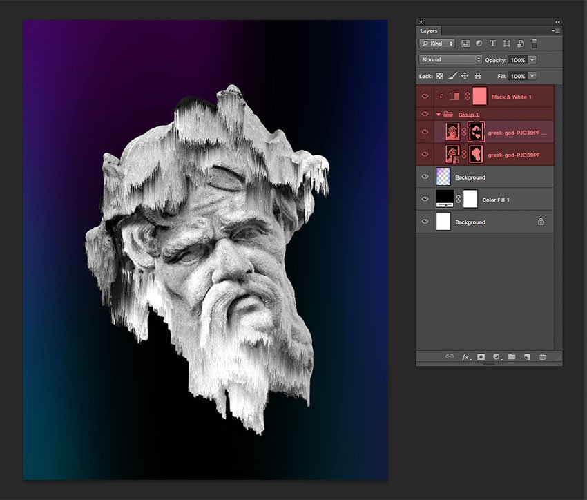 Add a Black and White adjustment layer and create a Clipping Mask
