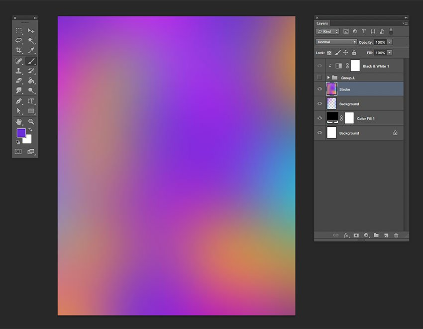 Apply the Gaussian Blur filter effect to soften the layer
