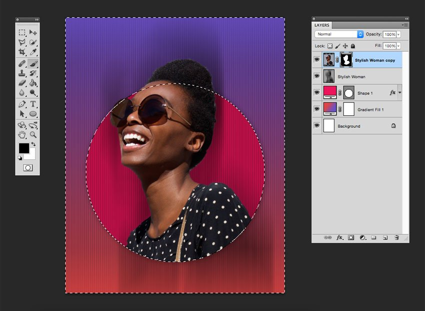 Use the ellipse to shape the bottom part of the image