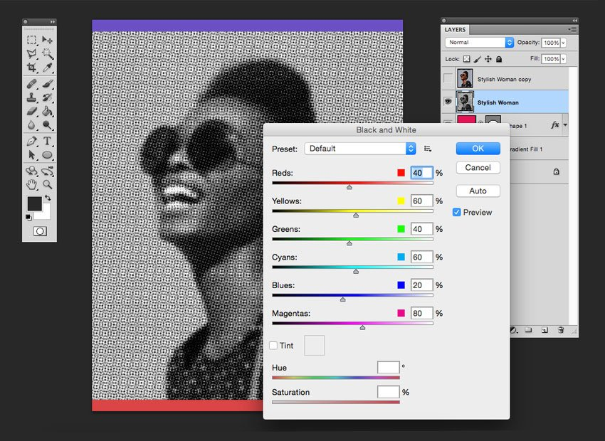 Use the color halftone filter followed by the black and white adjustment