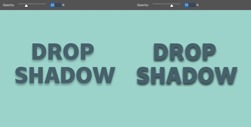 opacity dictates the transparency of the overall drop shadow