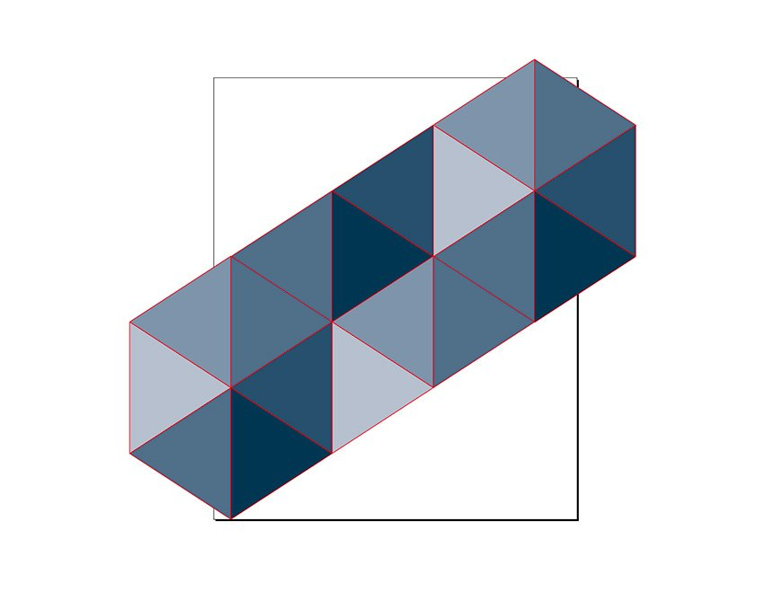 delete the top and bottom triangles to create a flat shape
