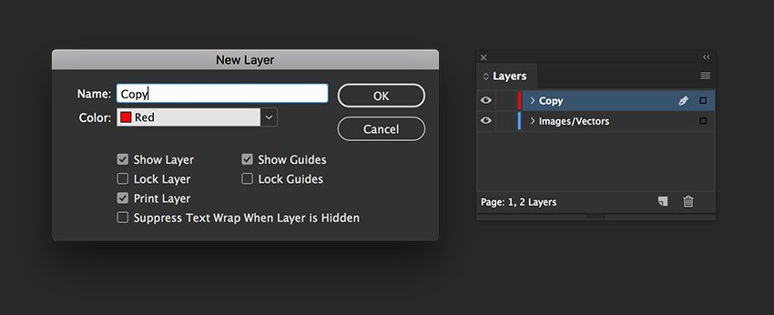 Create two layers named ImagesVectors and Copy
