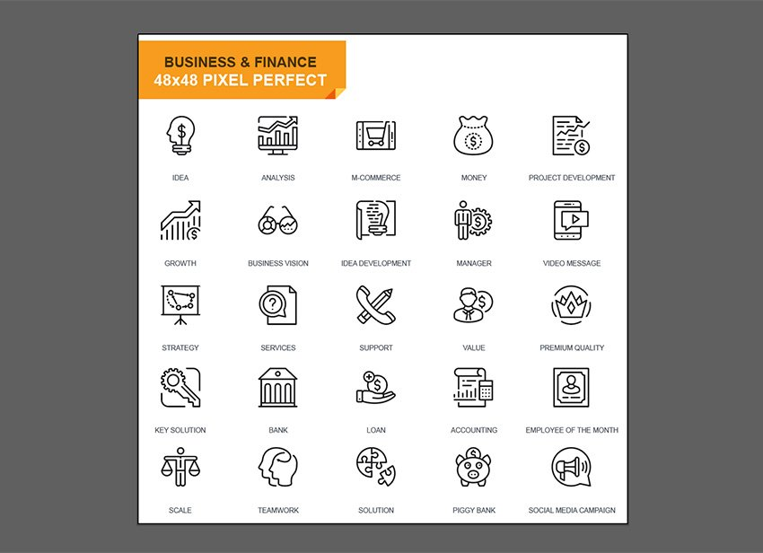 Open the business icons in Adobe Illustrator