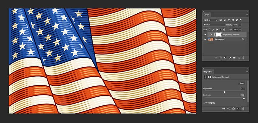 open the flag image in photoshop and add a contrast layer