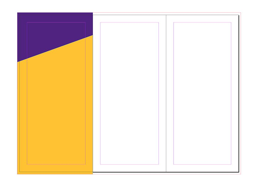 Create two rectangles on page 4 Create an angle on one of them by using the direct selection tool