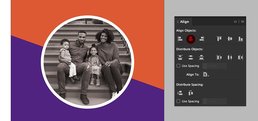 align the image and the overlay with the align panel