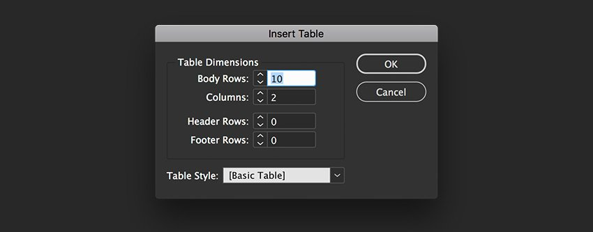 insert a table on a text box