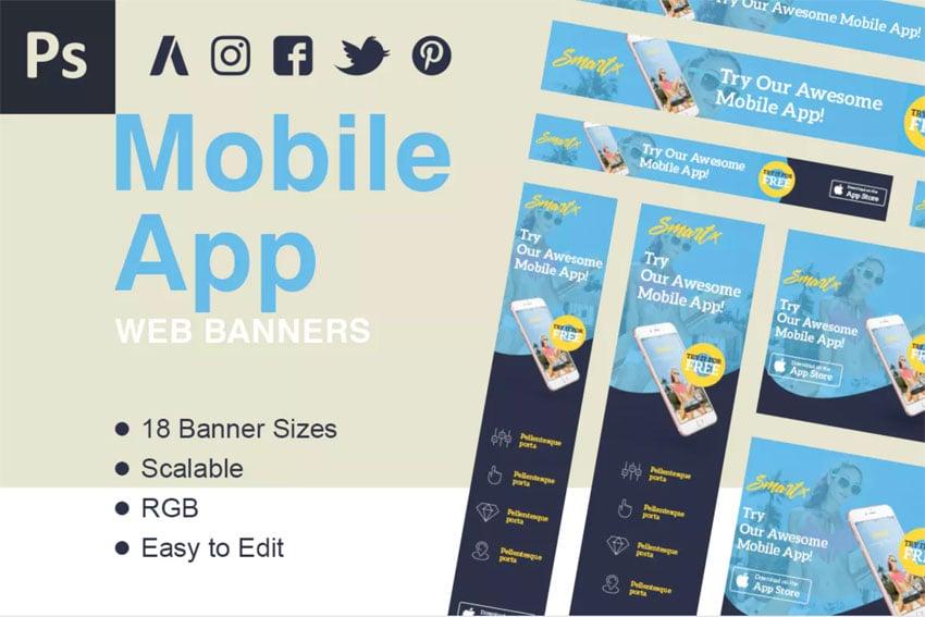 Mobile web app banner ads