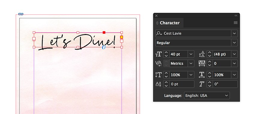 use the character panel to format the text frame
