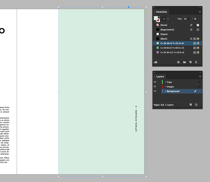add a rectangle on the opposite page