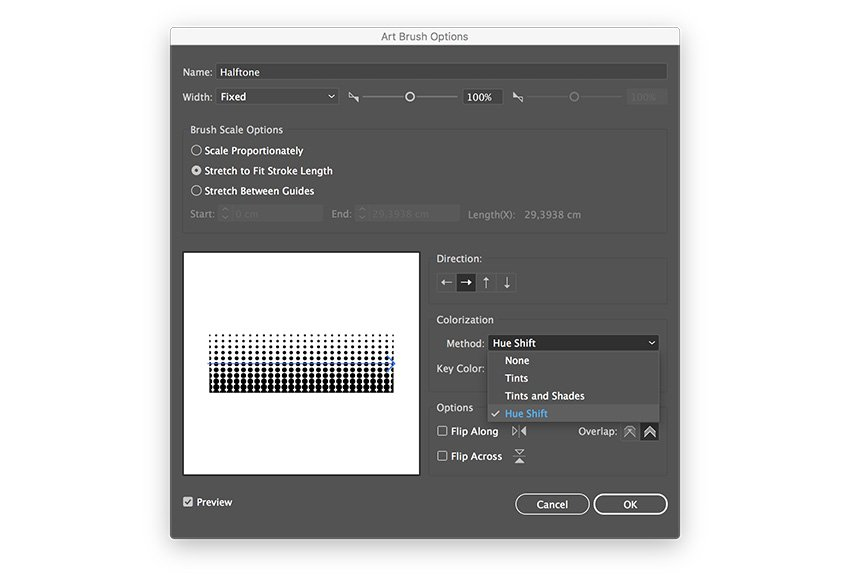 change the method to hue shift to apply color to the pattern