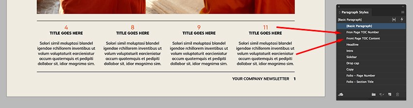 use the paragraph styles panel to format typography on the Table of contents