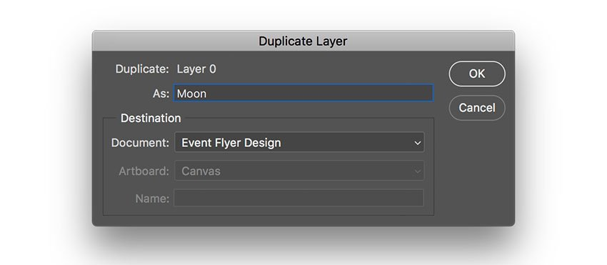 duplicate the layer onto the event flyer file