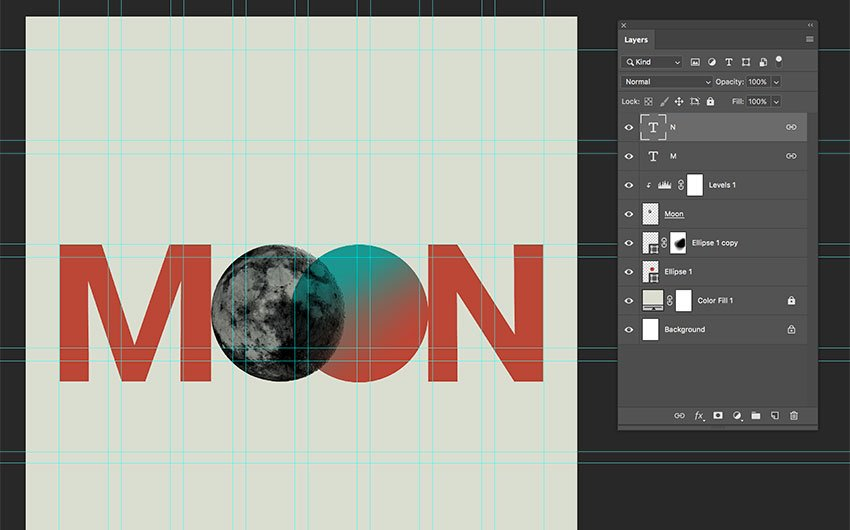 use the text tool to complete the word MOON