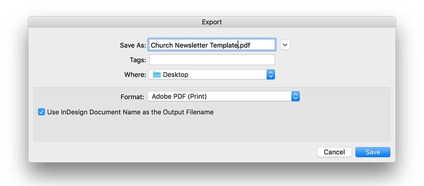export the church newsletter template