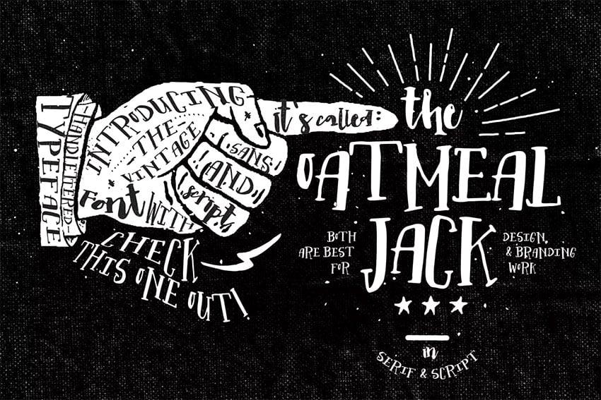 Oatmeal Jack Display Board Font