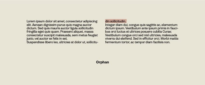 Orphans in Typesetting
