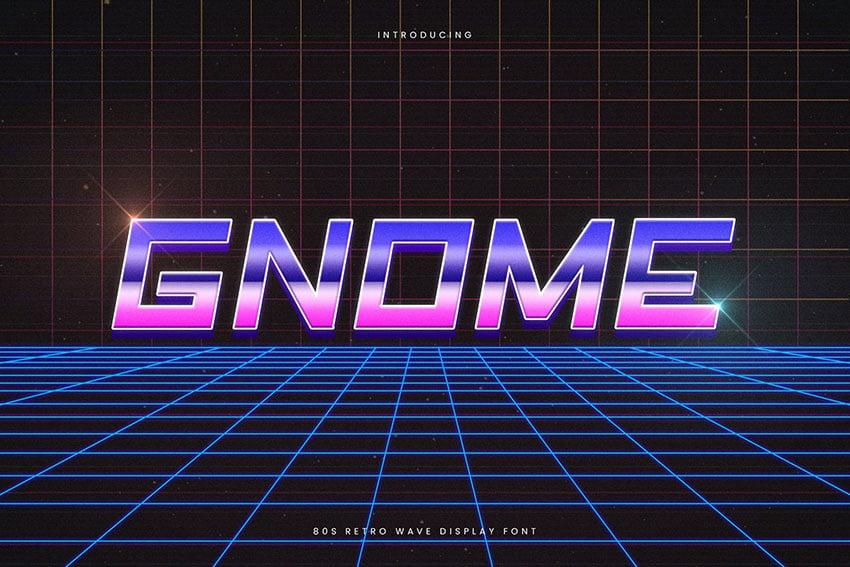Gnome Retro Wave Typeface
