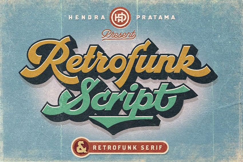 Retrofunk Script retro font