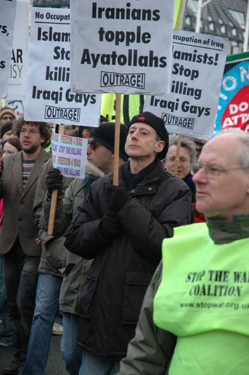 OutRage group with Peter Tatchell marching against the killing of Iraqi gays by Andrew Wales is licensed under CC BY 20