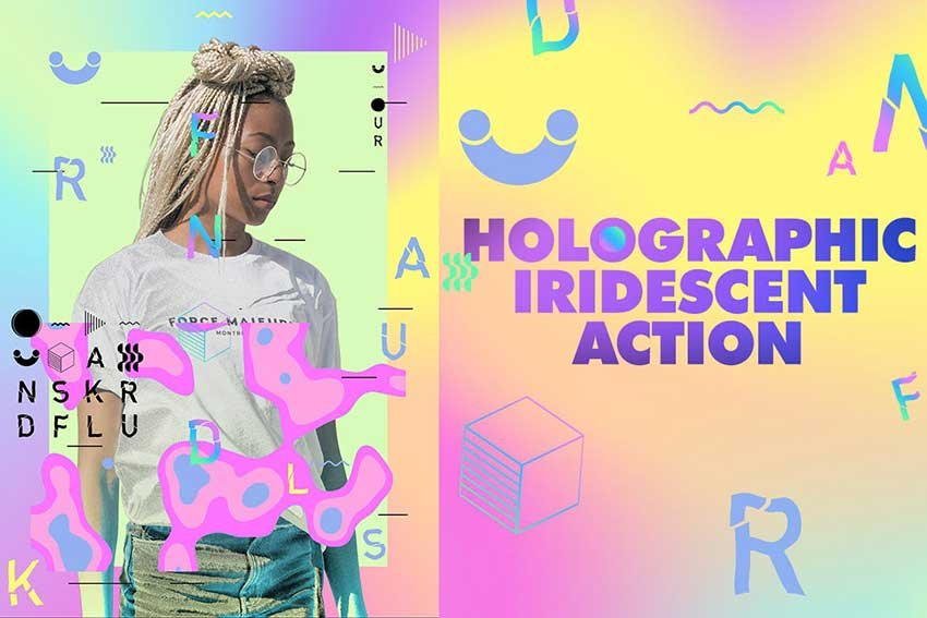 Holographic Iridescent Soft Pastel Photoshop Action