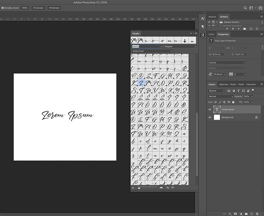 How to use the swash fonts in photoshop