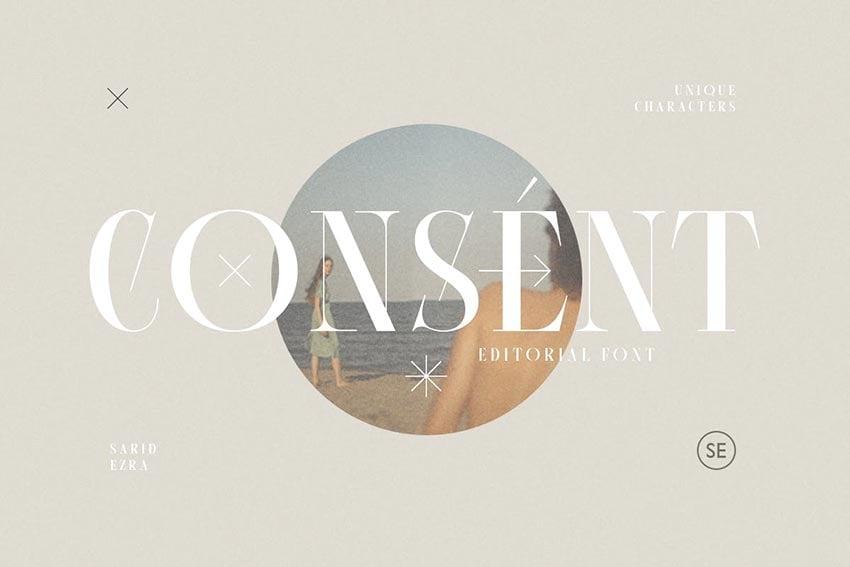 Consent, magazine letter font