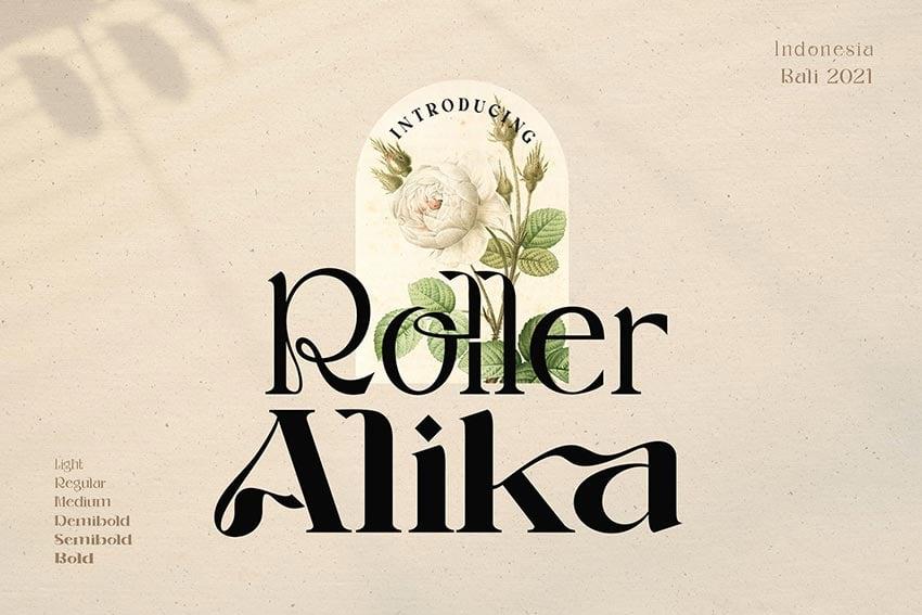 Roller Alika, magazine letter font