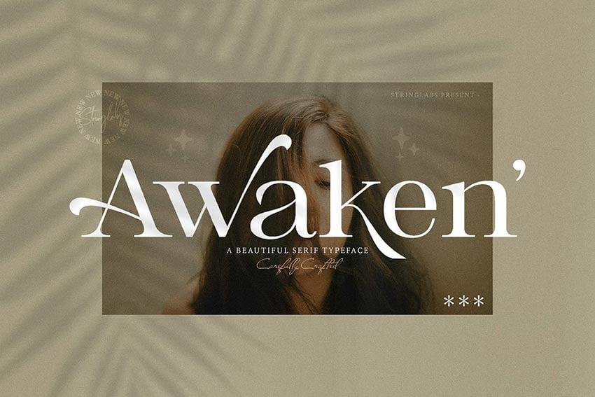 Awaken, magazine letter font