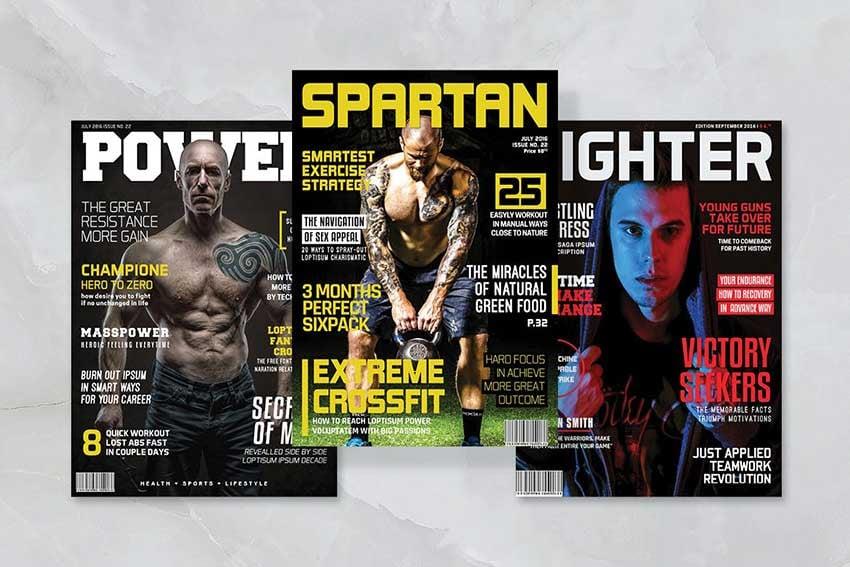 Sports magazine cover, magazine letter font