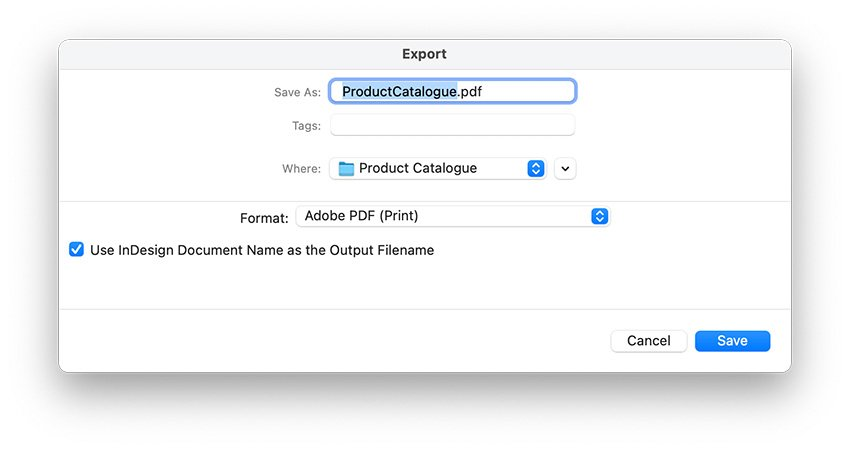 Export the product catalogue file to PDF