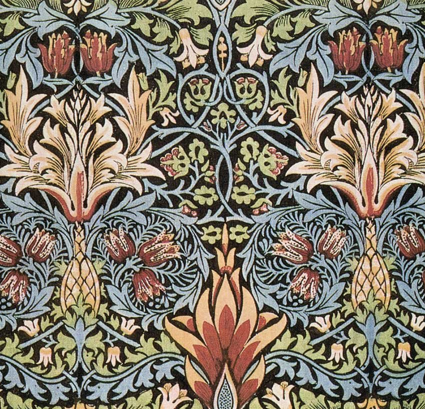 Snakeshead printed cotton designed by William Morris.