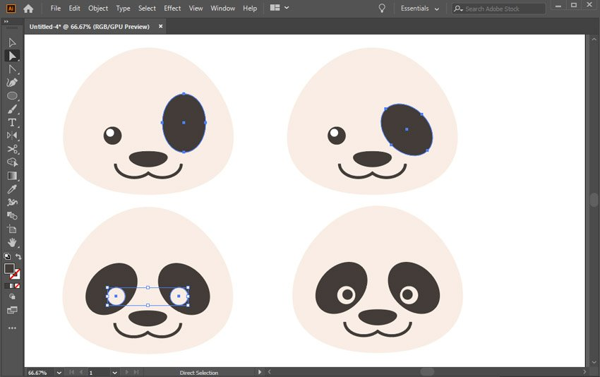 create the eyes and the eye spots