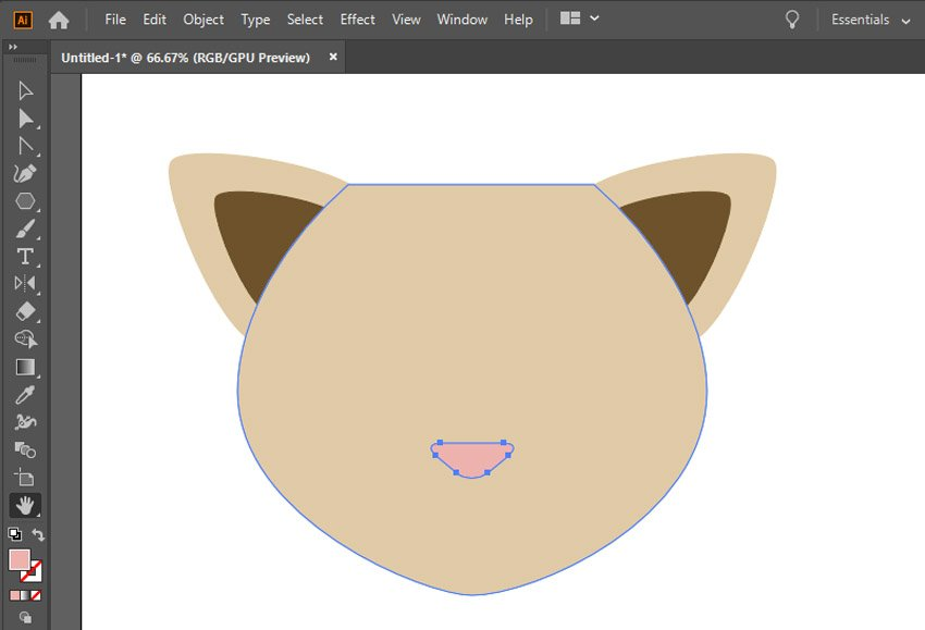Make a small pink triangle nose with the Polygon Tool