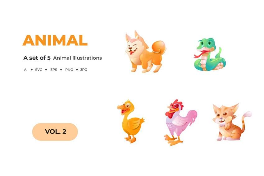 Cartoon Animal Illustrations Vector Art